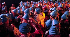 Devotees with blue Devo hats